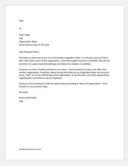 resignation letters reasons word