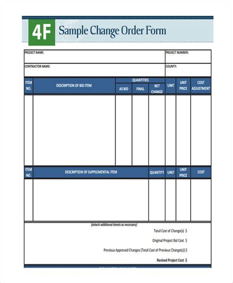 change order forms   word  format