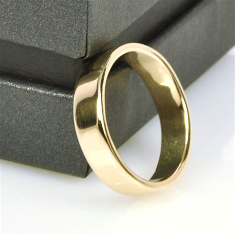 Handmade Mens Wedding Band - mens yellow gold wedding band 14k gold 5mm wide ring