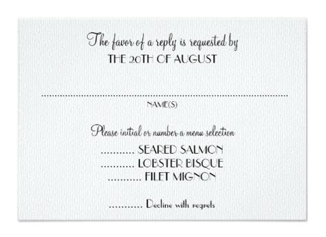 template for rsvp cards dinner rsvp card wording with meal options hnc