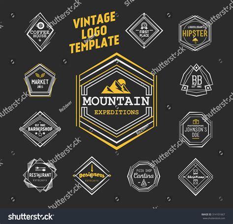 vintage logo template vintage logo template line stock vector
