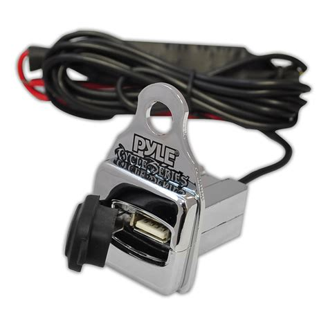 Motorcycle Usb Charger pyle plmca61 600 watt motorcycle atv lifier with dual handle bar mount
