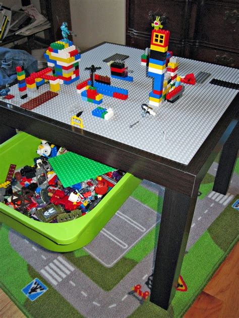 ikea lack side table converted to a lego table with lego