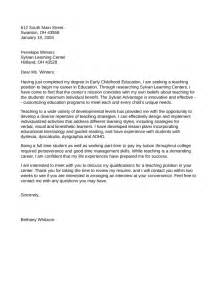 early childhood cover letter exles for early childhood education cover letter sles