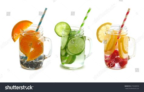 Types Of Detox by Three Types Fruit Filled Detox Water Stock Photo 272698550