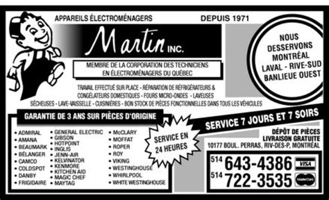 appareils electro menagers martin   boul perras
