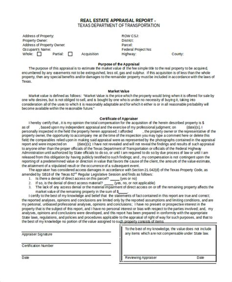 7 Sle Real Estate Appraisal Forms Free Sle Exle Format Commercial Appraisal Review Template