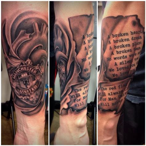 black and grey manchester united memorial tattoo by david