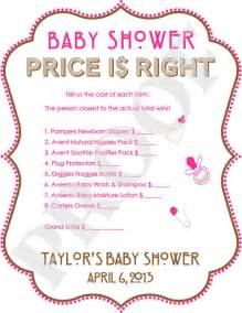 free printable price is right baby shower template personalized price is right baby shower pink by