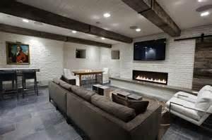 Charcoal Gray Sectional Sofa Basement Tv Room Transitional Basement Washington