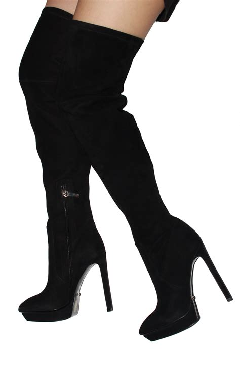 black knee high heels 5 inch heels black suede the knee high heel boots