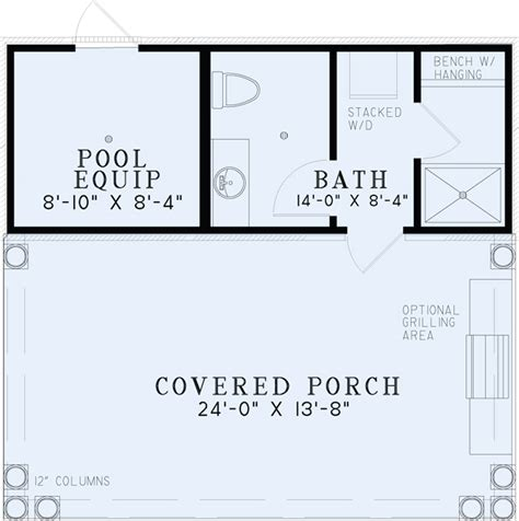 pool cabana floor plans 1495 poolhouse plan with bathroom house plans
