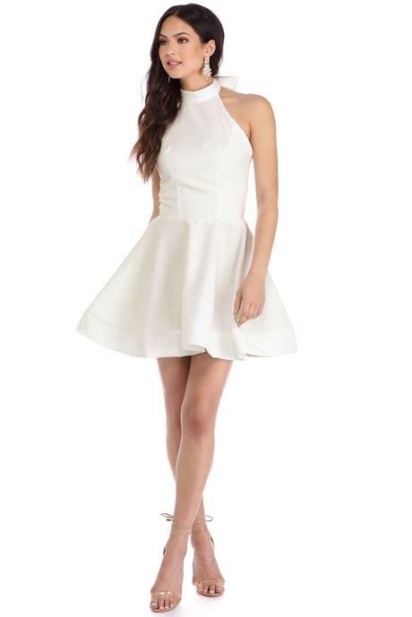 Mini Low Back Bow Lace Dress Pesta Putih Lengan Panjang Import Mu skater dress with bow back