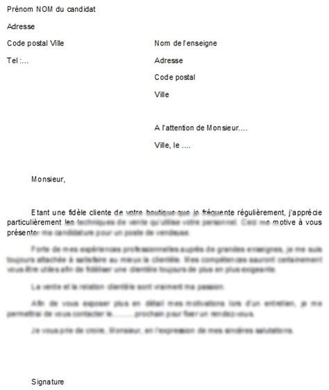 Lettre De Motivation Vendeuse Responsable exemples de lettre de motivation vendeuse