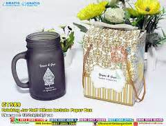 Esther Gold Exclusive Bpom Pot Kaca jar dove warna dengan tutup cantik kemasan paper box souvenir pernikahan