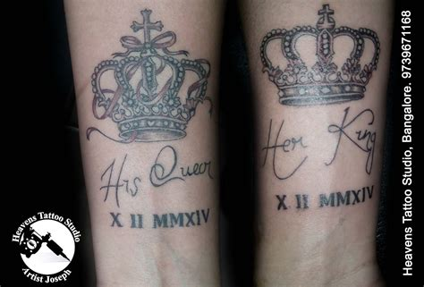 his and her king and queen tattoos his king bangalore heavens