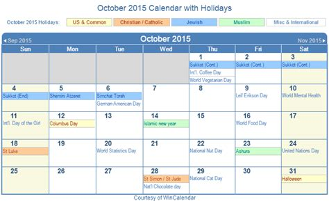 printable calendar october 2015 wincalendar print friendly october 2015 us calendar for printing