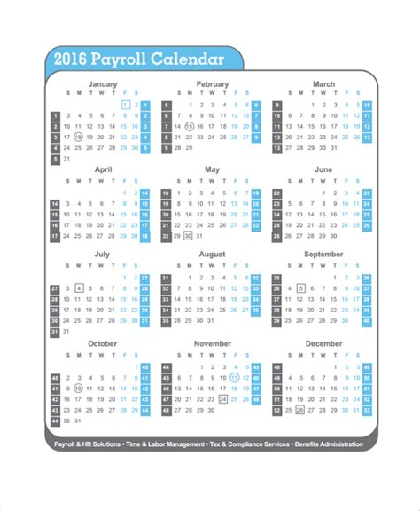 sle payroll calendar template 9 free documents