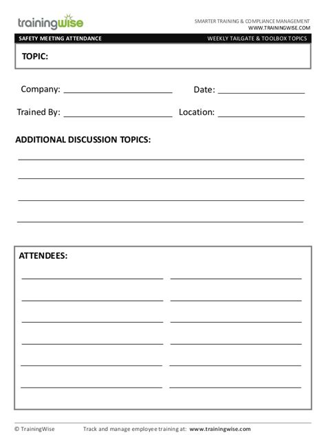 monthly safety meeting template safety meeting form free by trainingwise