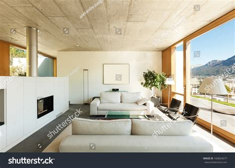 house design inside room beautiful modern house cement interiors view stock photo