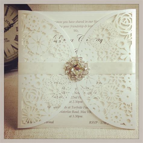Paper Lace Wedding Invitations by Laser Cut