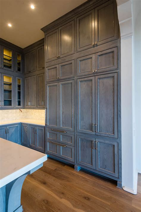 gray stained cabinets in kitchen quicua