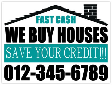 %name cheap business signs   We Buy Houses, Save Your Credit Investor Bandit Lawn Sign