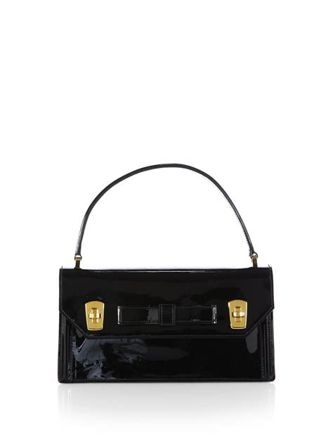 Miu Miu Patent Mini Bowling Bag by Miu Miu Bow Mini Patent Leather Top Handle Bag In Black Lyst