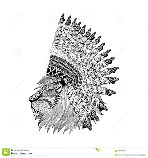 lion face in feathered war bannet in zentangle style