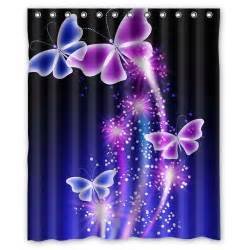 Purple Butterfly Curtains Pink Purple Butterfly Shining Blue Sky Waterproof Shower Curtain 60x72 Ebay