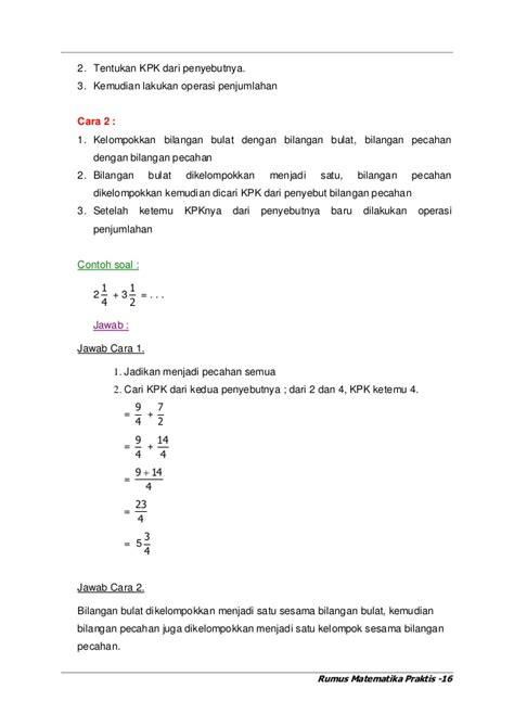 Rahasia Pintar Matematika Lengkap Untuk Sd Kelas 345 Dan 6 Oleh Mk contoh soal pecahan untuk sd contoh soal uts matematika sd