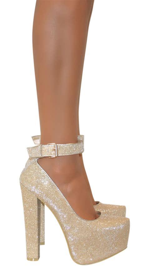 chunky heel high heels womens ankle cuff platform block chunky high heels