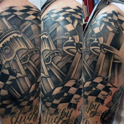 checkered flag tattoo 60 piston designs for unleash high horsepower