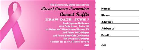 Pink Ribbon Raffle Ticket 002 Breast Cancer Raffle Ticket Template