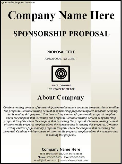 sponsorship proposal new calendar template site