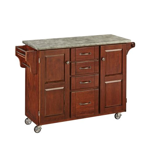 create  cart cherry finish  concrete top home styles