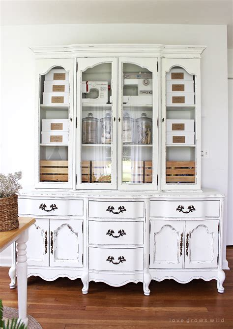 Painting Kitchen Cabinets With Annie Sloan Chalk Paint office storage hutch makeover love grows wild