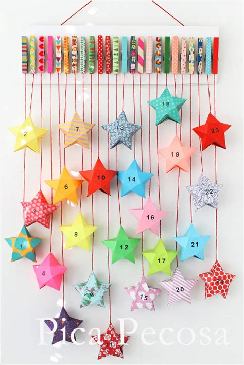 Calendario Con Washi Calendario Adviento Diy Pinzas Washi Cajas Estrella