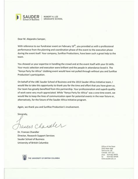 Mba Thank You Letter by Ubc Sauder School Of Business Thank You Letter