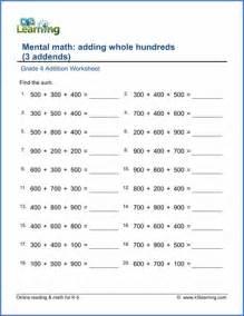 mental math worksheets grade 4 davezan