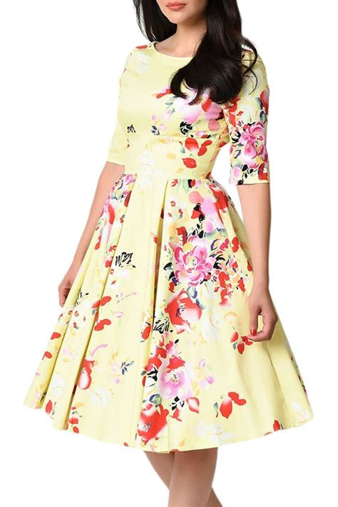 7 Tips For Identifying Vintage Clothing by Vintage Style Half Sleeve Yellow Floral Swing Dress
