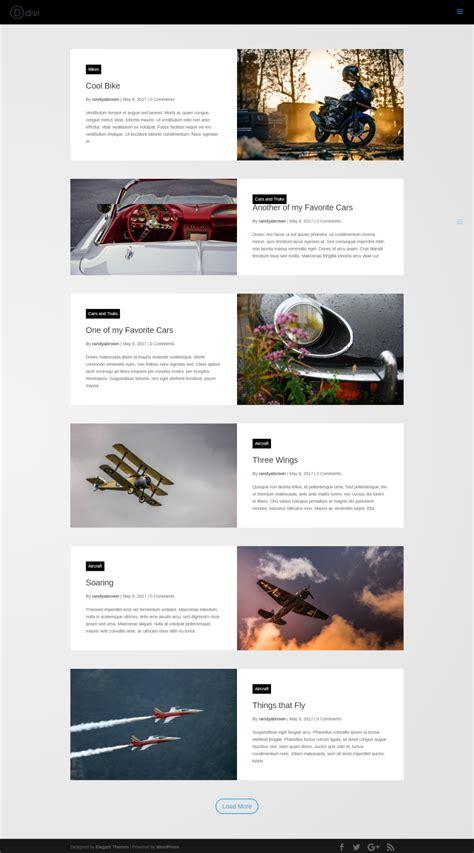 layout grid mode divi plugin highlight divi blog extras elegant