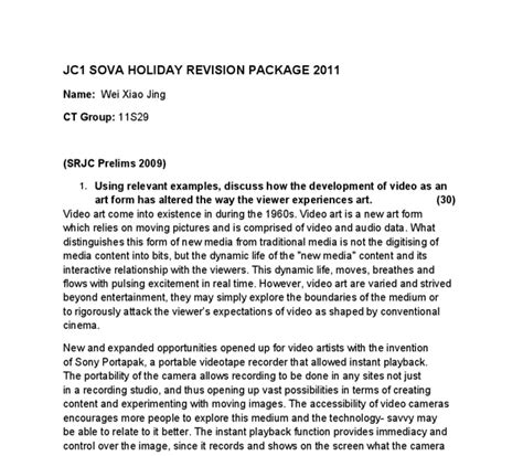 Artist Essay Exle by Using Relevant Exles Discuss How The Development Of As An Form Has Altered The Way