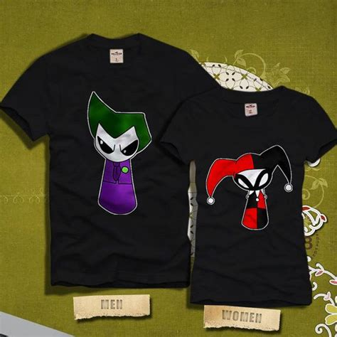 Joker And Harley Quinn Mini 2 T Shirt joker and harley quinn mini couples tshirt dc comics by kincotan t shirt