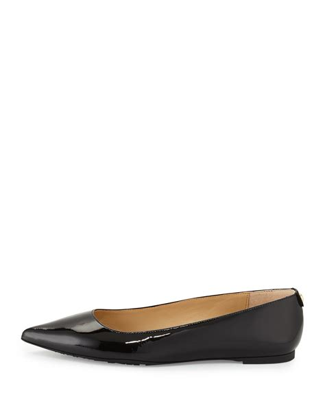 michael kors black flat shoes lyst michael michael kors arianna patent pointed toe