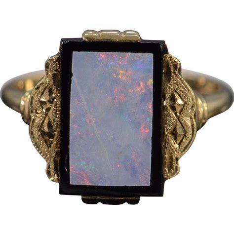 10k antique inset opal black onyx ring size 4 75