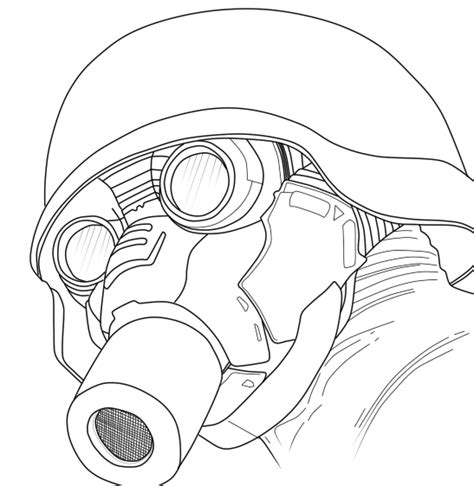 printable gas mask template soldier gas mask lineart by valheluxe on deviantart