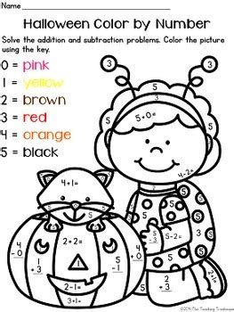 halloween coloring pages numbers halloween color by number addition subtraction within