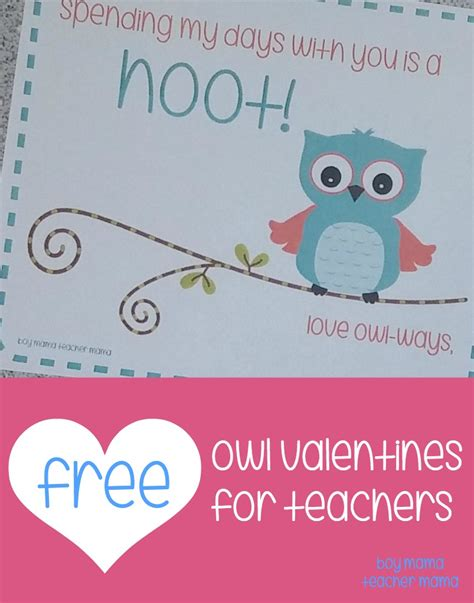 valentines from teachers free printable owl valentines for teachers