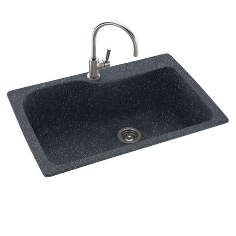 Kitchen Sink Specifications Swan Dual Mount Composite 33 In 1 Single Basin Kitchen Sink In Black Galaxy Ks03322sb 015